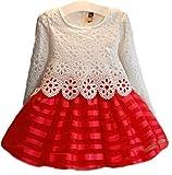 (ルノン) Lunon 子供服 女の子 フレア ドレス スカート フォーマル レース サテン生地 ワンピース 赤 結婚式 入学式 発表会 (120)