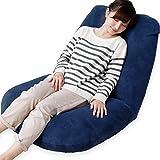 【あぐらシリーズ】 座椅子 1人用ソファ リクライニング ワイド座面 ポケットコイル ソフト生地 ネイビー