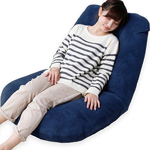 LOWYA (ロウヤ) 座椅子 42段階リクライニング ワイド座面 ポケットコイル ソフト生地 ネイビー おしゃれ