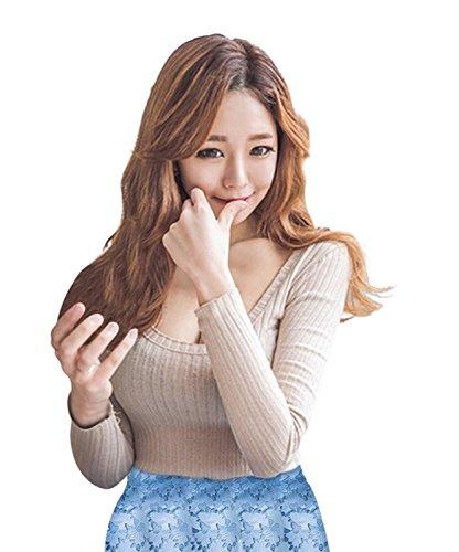 (ココアンドユカ) COCO&YUKA レディース トップス 長袖 インナー ロング T シャツ 薄手 シンプル 胸 開き セクシー (M, ベージュ)