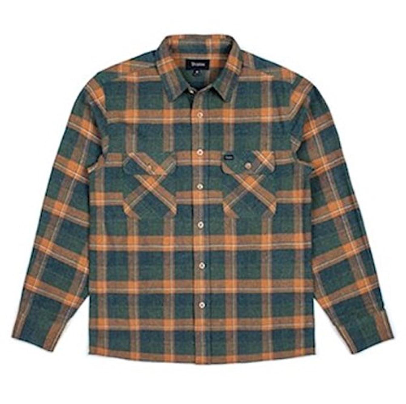 給料無視トランスペアレントBrixton Archie L/S Flannel Shirt Green S ネルシャツ 並行輸入品