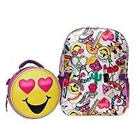 emoji キッズ16バックパック&ランチトートセット 16インチ バックパックランチセット 新学期必需品 女の子用