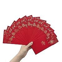 Angel Mall pack-12Chineseレッド封筒–ラッキーお金の新しい年のギフト封筒レッドパケット、誕生日、結婚(7x 3.5in)