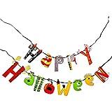 Happy Halloween ハッピー ハロウィン イラスト ペーパー ガーランド おしゃれ バナー ( ペナント ) / ハロウィーン パーティー イベント 演出 飾り付け / 黒 の 紐 ( リボン ) と 紐通し 付き セット