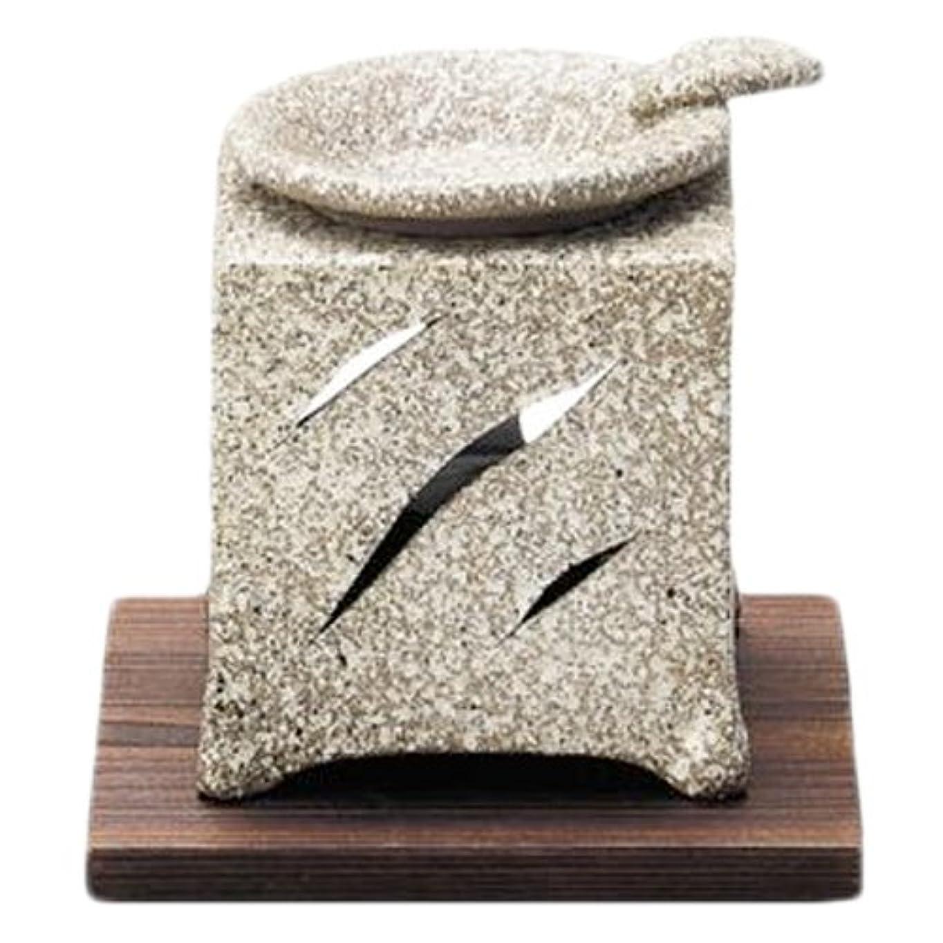 清めるラフゆでる常滑焼5-261山房 石風角形茶香炉 AM-T1054
