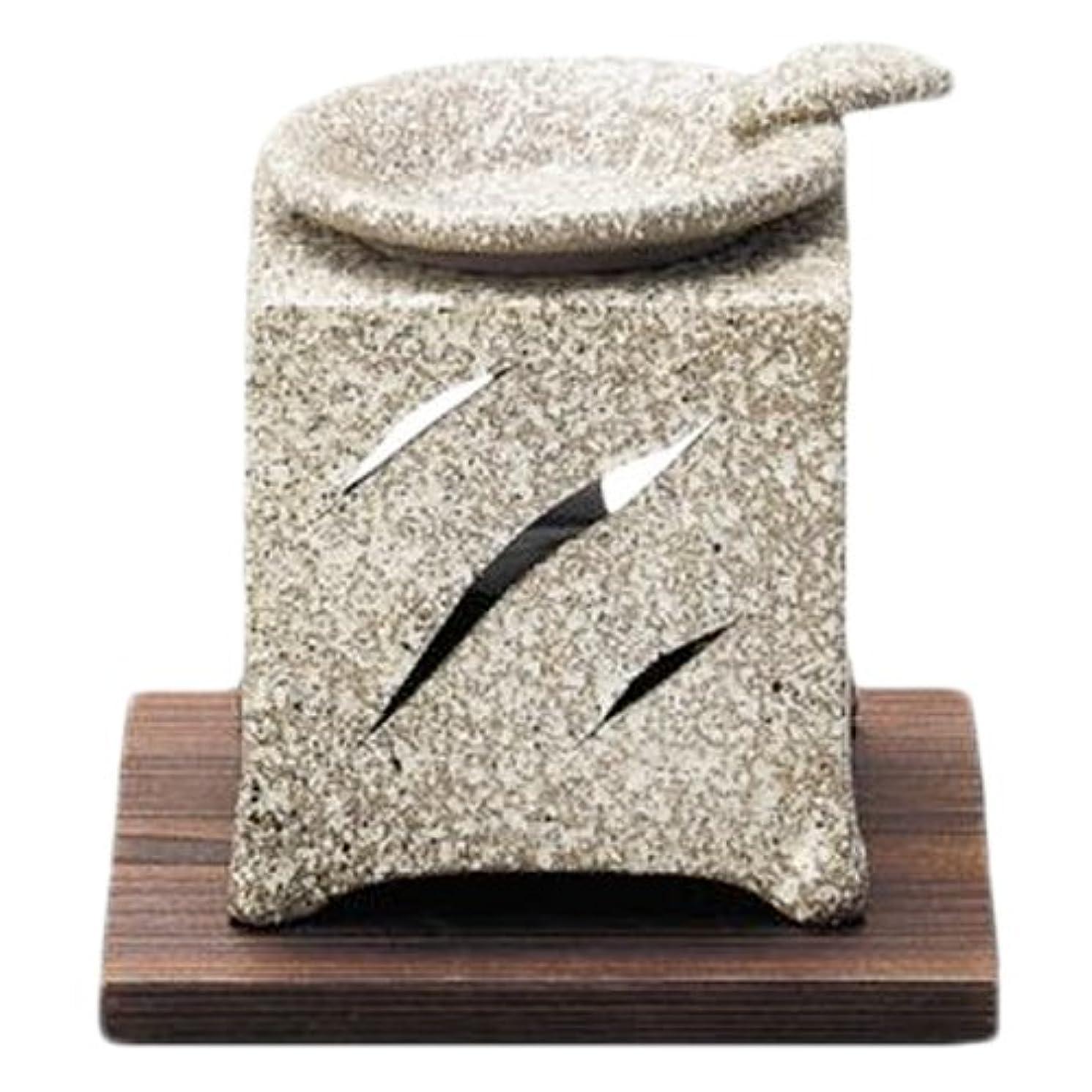 鉄スプーン上回る常滑焼5-261山房 石風角形茶香炉 AM-T1054