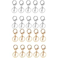 HOMYL 20 Pieces Alloy Snap Lobster Clasp Clip Hook with Chain Keychain Key Ring Findings for DIY Craft Supplies