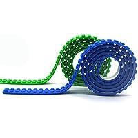 LattoGe レゴ (LEGO) 互換性 2ドット シリコンブロックテープ 自在に曲がる 貼れる 切れる レゴブロックテープ,積み木 テープ スティック ベースプレート プレートレゴフィギュアテーブル トイ 壁にくっつく用の3Mセルフ接着剤,ブロックテープ 貼り直すでき,テーブル、子供 部屋 どんな場所でもレゴブロック楽しめ(青+绿)