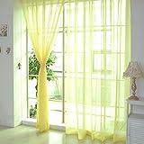 BULARY レースカーテン 純色 シンプル おしゃれ デザインカーテン ポリエステル生地 薄い 透け感良い 明るく 自然の風を通し 安らぎを感じる風合い 取り外し簡単 ループ通して使える 新生活応援  7色販売中 100x200cm イエロー