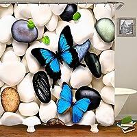 飛ぶ蝶、蝶が飛ぶ、3Dデジタル印刷防水シャワーカーテン 長期使用 (Color : 1, Size : 90*180cm)