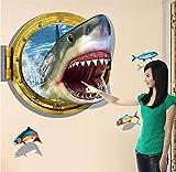 FeiFei(フェイフェイ) 賃貸OK! 剥がせる!W132= 3D 飛び出す サメ  ウォールステッカー (付属品:専用ポスターケース梱包+練習用転写シール+簡易取説付)ウォールステッカー・インテリアシート・リメイクシート
