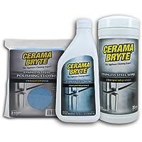 Cerama Bryteステンレススチールクリーニングキット:クリーニングポーランド(ミネラルオイル)、クリーニングポリッシュ&コンディショナーWipes、マイクロファイバークリーニングCloths