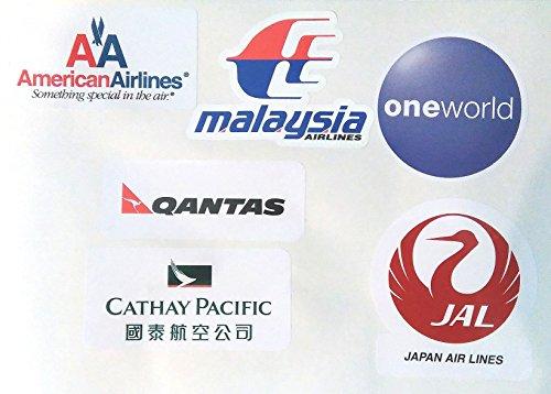 ワンワールド系列航空ステッカー6種類セット スーツケースカスタマイズ用シール並行輸入品(ワンワールド・アメリカン航空・キャセイパシフィック・JAL・カンタス・マレーシア)