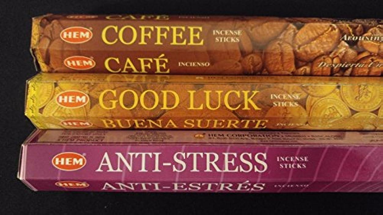 ペフ天の雪のコーヒーGood Luck anti-stress 60裾Incense Sticks 3香りサンプラーギフトセット