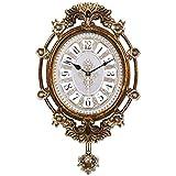 ウォールクロック樹脂クロックスイング装飾ファッションサイレント ホームデコレーション時計 (Color : Brass, サイズ : 16 inches)