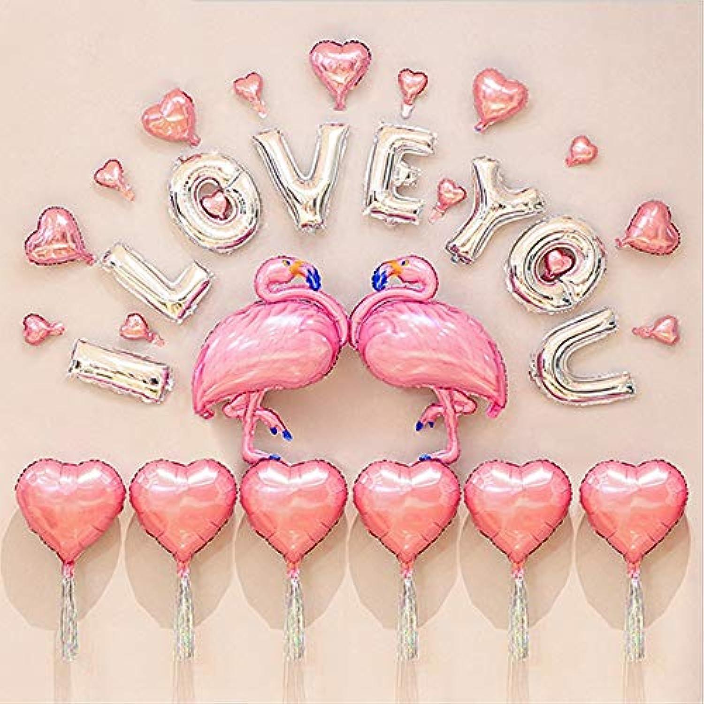 フラミンゴ ウェディング 飾り付け パーティー ピンク 可愛い プロポーズ 結婚式 彼女 誕生日 ロマンチック I LOVE YOU バルーン 風船 ハートバルーン 空気入れ付き 33枚セット