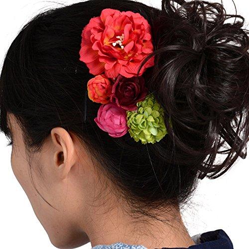 髪飾りUピン・コーム5点セット花に蕾赤