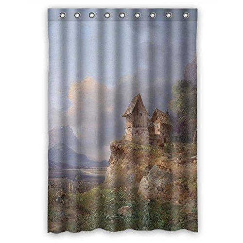 Platimポリエステル浴室カーテン妻の美しい風景風景画BFボーイズBoys。防サビ横幅X高さ/ 48x 72インチ/ W H 120by 180CM (ファブリック)