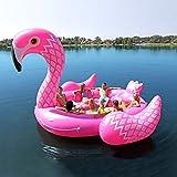 インフレータブル浮き輪フラミンゴ ユニコーン 超巨大浮き輪 フロート ベッド 水上ユニコーンおもちゃ 6人乗り 全長約5m 夏プール ビーチ ドリンクホルダー/空気ポンプ付き