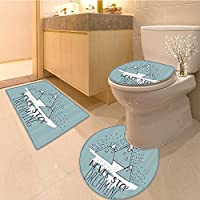 "3 Piece Bath RugセットIf You Never Try Youl Never Kno哲学インスピレーションIstic Sign LongテクスチャノンスリップバスルームマットContourトイレカバーラグ 35.5""x24""/R24""/18""x21.5"" GMMDT-16489K90xG60-R60-K45xG55"