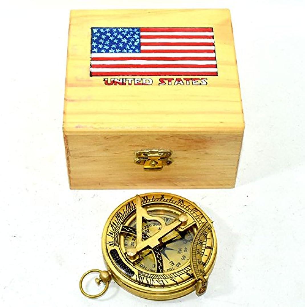 油暗殺者洗剤Hello Nauticals Store 純真鍮 プッシュボタン 方向サンダイヤルコンパス イエロー仕上げ サンダイヤルコンパス ボックス付き