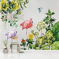 Djskhf北欧ミニマリストスタイルの壁紙3D手塗り植物ピンクフラミンゴ壁写真用リビングルーム家の装飾現代壁の葉- 120X60Cm