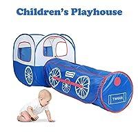 Euone 子供用プレイテント 折りたたみ式 子供用 プレイハウス ブルー 列車 テント トンネル 屋外 男の子 女の子 おもちゃ
