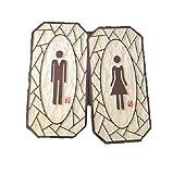 トイレ サイン プレート / Toilet 看板 / 男女2枚セット / ドア・壁など貼り付けタイプ TSP745 (タイプA)
