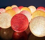 ボール型ライト イルミネーションライト Cotton Ball Light 20/セット 室内装飾 クリスマス パーティー ハンドメイド 古典的 ランプ  綿 コットン ボール 電球 ストリング ライト クリーム 黄色 ピンク