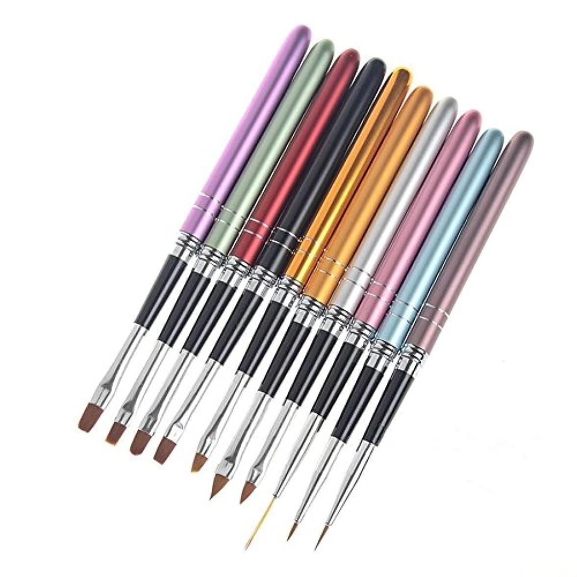 暗黙スリーブトレース10本/セット ネイルブラシセット ジェルネイル絵描きブラシなどの UVジュエルネイルツール アクリルネイルアートブラシネイル用品