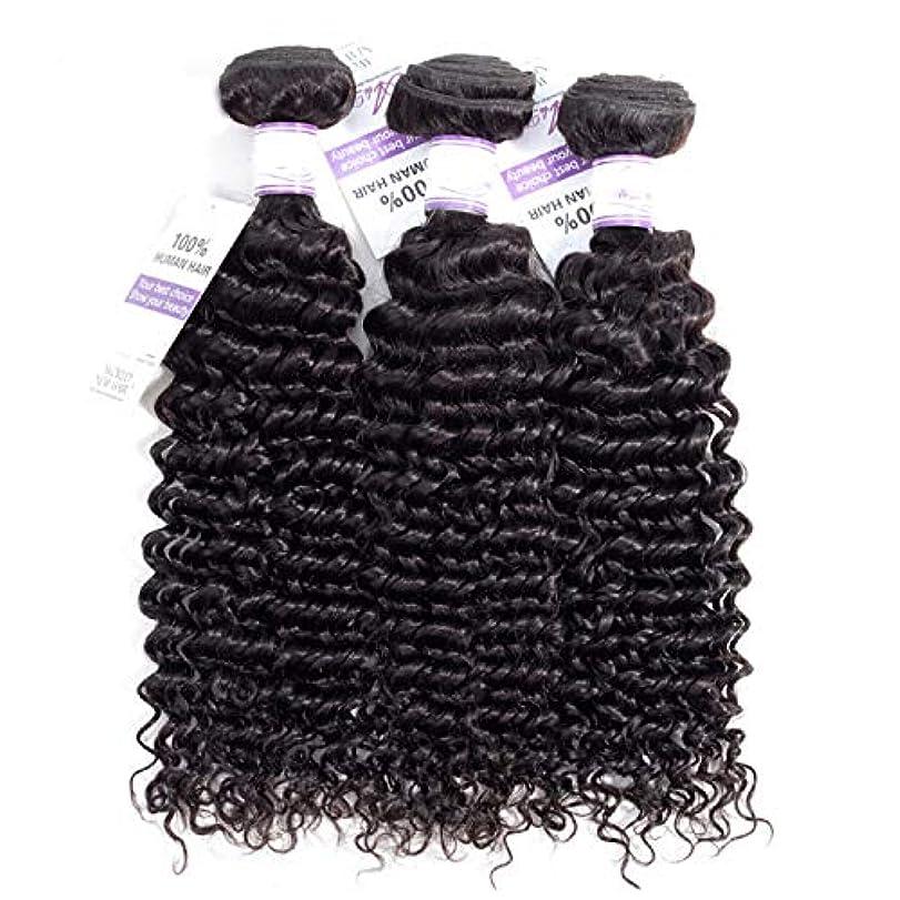 床とげ自体かつら ブラジルのディープウェーブヘア織りバンドル100%人毛製織ナチュラルカラー非レミー髪は3個購入することができます (Stretched Length : 18 20 22 inches)