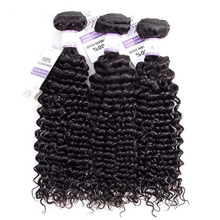 の間で解決する高度かつら ブラジルのディープウェーブヘア織りバンドル100%人毛製織ナチュラルカラー非レミー髪は3個購入することができます (Stretched Length : 18 20 22 inches)