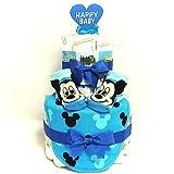 a13 おむつケーキ2段 男の子 ミッキーマウスのスタイ&ベビーソックス ディズニーキャラクター オムツケーキ出産祝い