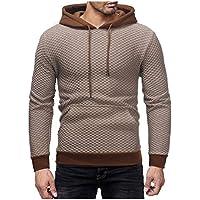 119f5f4fbca5 Howme-Men Drawstring Hooded Plaid Pullover Long-Sleeve Cargo Pocket  Sweatshirts