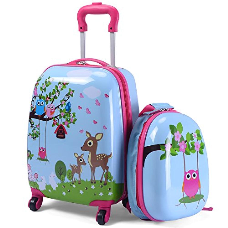 Costway キッズキャリー 子供キャリー 2点セット 子供用 キッズ用 スーツケース キャリーケース キャリーバッグ ベビーリュック 機内持込み 旅行 遠足 キャンプ おもちゃ収納 誕生日プレゼント (ブルー)