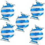 Prettyia 5個 風船 バルーン キャンディー形 アルミ風船 パーティー 装飾 飾り 子供 玩具 プレゼント 全4色選べる - 青 ストライプ