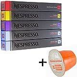 (お得セット/洗浄剤サンプル1個付き)NESPRESSO ネスプレッソ カプセルコーヒーデカフェタイプ5種x10カプセル 合計50カプセル並行輸入品