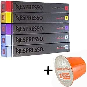 (お得セット/洗浄剤サンプル1個付き) NESPRESSO ネスプレッソ カプセルコーヒーデカフェタイプ5種x10カプセル 合計50カプセル並行輸入品