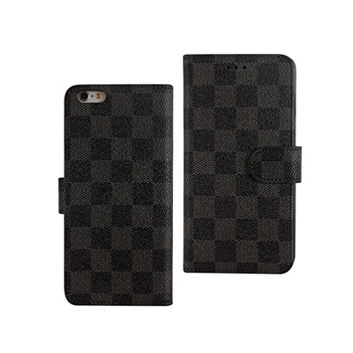 【PIPIHUA-正規品】 財布型iPhone5s/6s/6s plus iphone7/iphone7 plus市松柄 デザイン プレミアムPUレザー手帳型ケース (iPhone 7 plus, 黒)