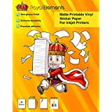 Royal Elements Printable Vinyl Sticker Paper for Inkjet Printers - 20 Waterproof Adhesive Decal Sheets - Matte White - Machine Cutter Compatible - Extreme Durability