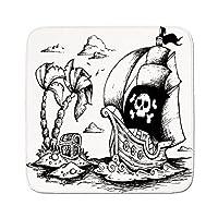 Cozyシートプロテクターパッドクッションエリアラグ、ヤシの木の海賊、図面、ヨットDanger Sign FlagアンティークVessel Treasure Island装飾、ブラックホワイト、簡単に使用on anyサーフェス 74.8W By 74.8L Inch FANGDIAN_TJ_05017K190xG190