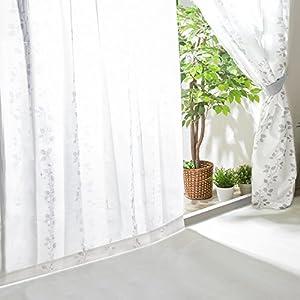 【全30種】レースカーテン UVカット 外から見えにくい 遮熱 洗える 省エネ 幅100cm×丈198cm 2枚組 リーフ