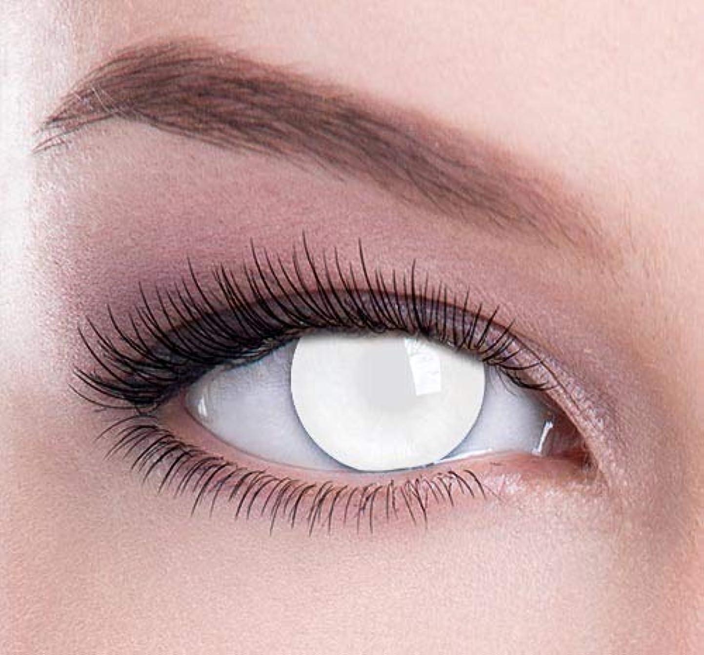 彼らは古代下手Cosplay Color Contact Lenses 化粧用コンタクトレンズ、ハロウィーンコスプレ カラーコンタクトレンズ、なファッションコンタクトレンズ (オールホワイト)