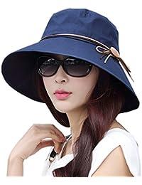 WSLCN レディース 日よけ帽子 uvカット帽子 収納可能 可愛い 人気 センス つば広 小顔効果 リボン サイズ調節 アウトドア 旅行 魅せる 春 夏物