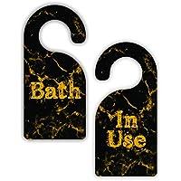 Bath /で使用 – エレガントなブラックとゴールド大理石テクスチャ印刷デザイン – バスルーム部屋ドアサインハンガー – 両面 – ハードプラスチック – Glossy Finish