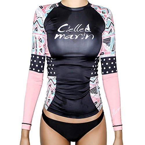 (ラウンドアース レディース) Round Earth Ladies ラッシュガード 長袖 パンツ セット 水玉 X 幾何学柄 X ピンク の組み合わせがたまらなく キュート スタイルアップ 効果抜群 M ブラック