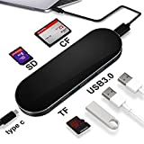 wittimes USB C Hub Type C adapter ハブ充電可能 USB 3.0ポートx3/ SD カード / MicroカードTFカード/CFカードリーダー充電可能 高速データ転送USB - C を持ってる設備に適応です。例えば MacBook Air, MacBook Pro, Mac Mini, Google Chromebook (ブラック)