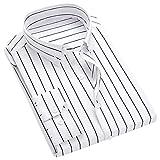 ベラバント(Veravant)メンズ ストライプ シャツ 長袖 スリム S-XL 黒/白/紺/水色 ビジネス ワイシャツ カジュアルシャツ ボタダウン おしゃれ