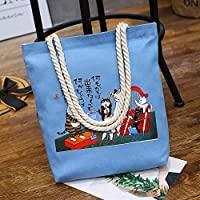 Student Tote Bag, Female Playing Cat Canvas Shoulder Bag Simple File Shopping Handbag (Blue) Polykor