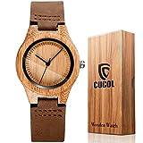 CUCOLレディース木製竹腕時計 ブラウン本牛革レザーストラップ腕時計 ギフトボックス付き